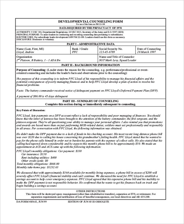 usmc counseling sheet template - army initial counseling statement example