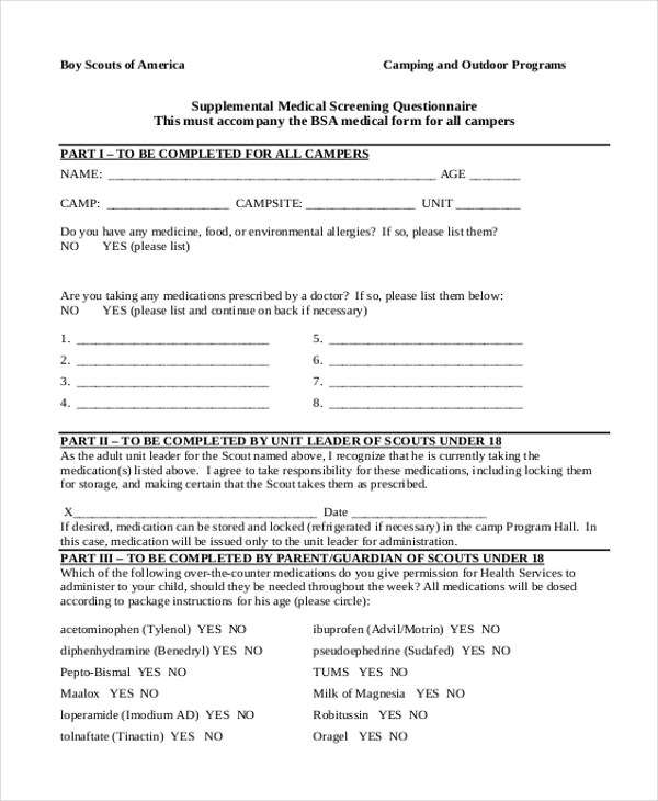 Boy Scout Camp Health Form