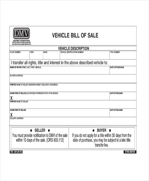 simple bill of sale template for car