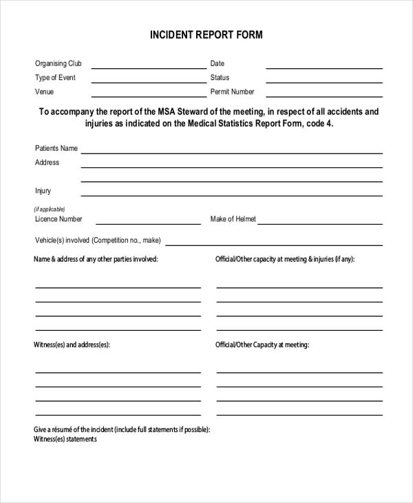 example of an incident report form