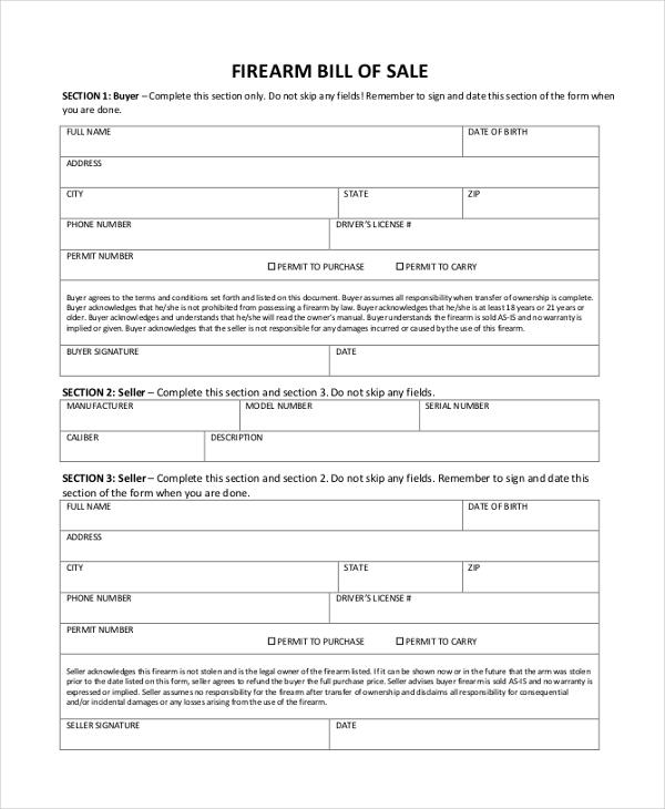 Free printable firearms bill of sale form download from gunwarrior. Free 8 Sample Firearm Bill Of Sale Forms In Pdf