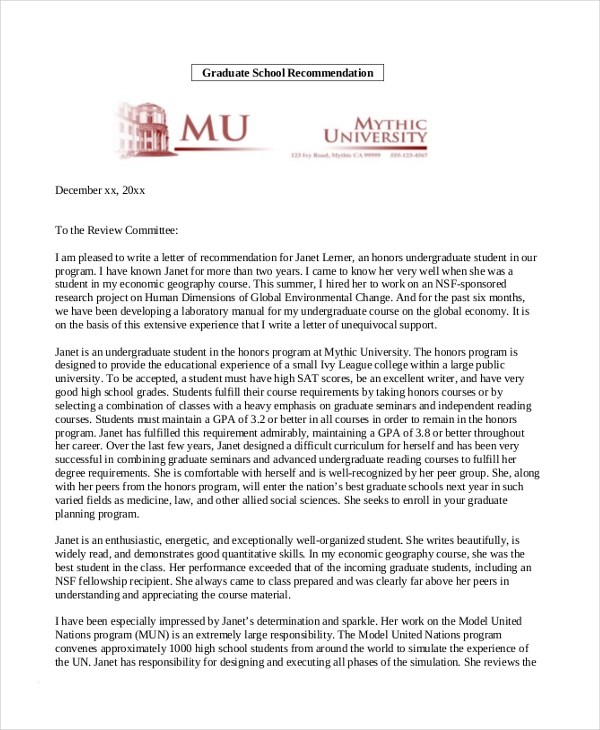 recommendation letter for masters degree in economics