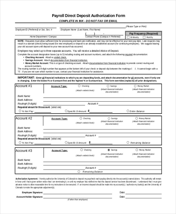 Sample Direct Deposit Authorization Form - 10+ Free Documents in PDF