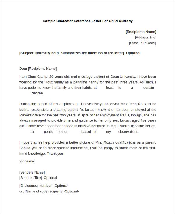 custody letter of recommendation sample