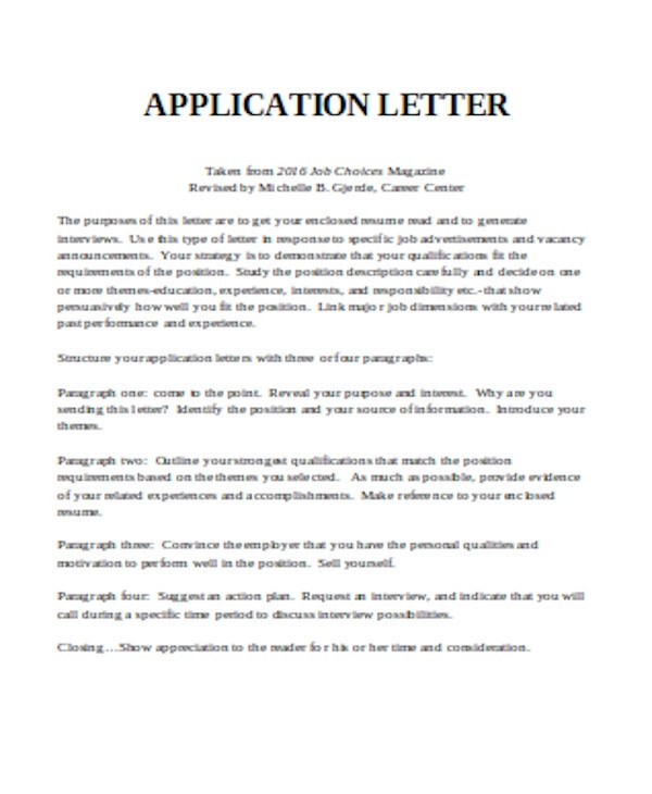 Free 9 Sample Letter Of Application Forms In Pdf Ms Word