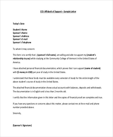 Sample Affidavit Of Support Forms