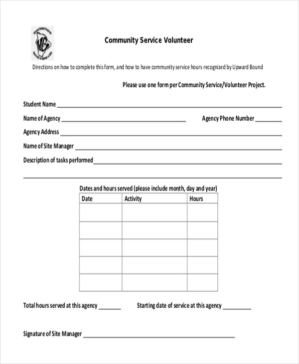 Court Ordered Community Service Form Template - FREE DOWNLOAD