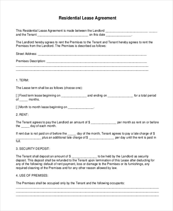 Printable Lease Agreement Forms In Pdf