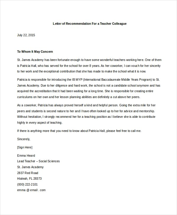letter of recommendation for a teacher how to write a letter of recommendation for coworker 43340