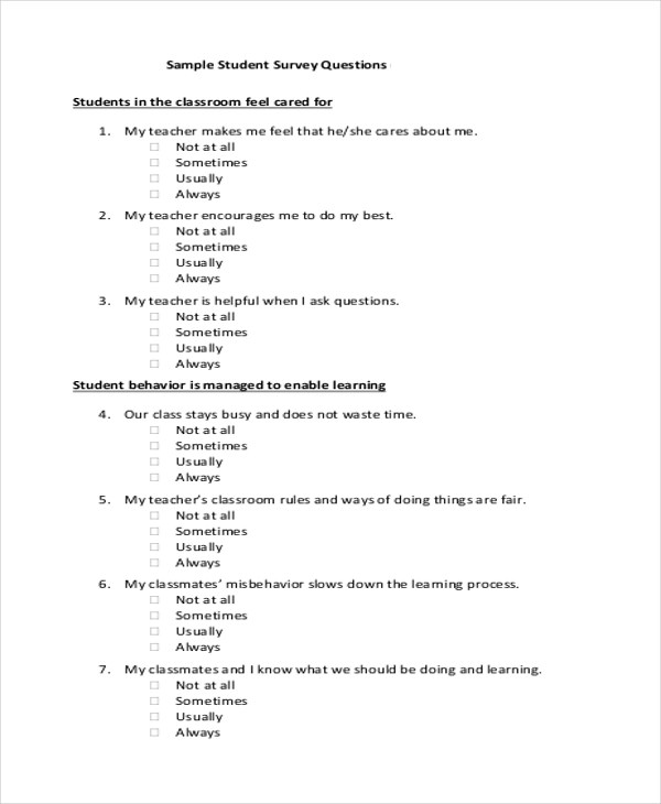 Sample Student Survey Student Survey Template International Student