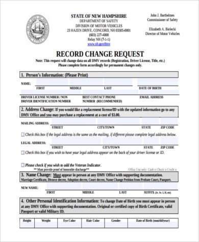 new jersey division of motor vehicles address change