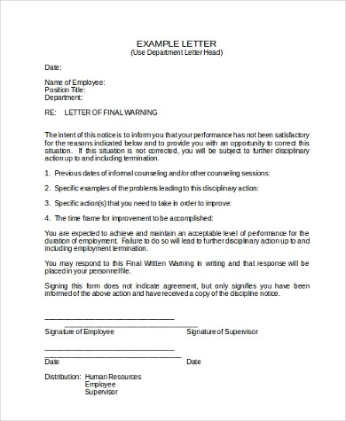 First Warning Letter To Employee Sample | Docoments Ojazlink