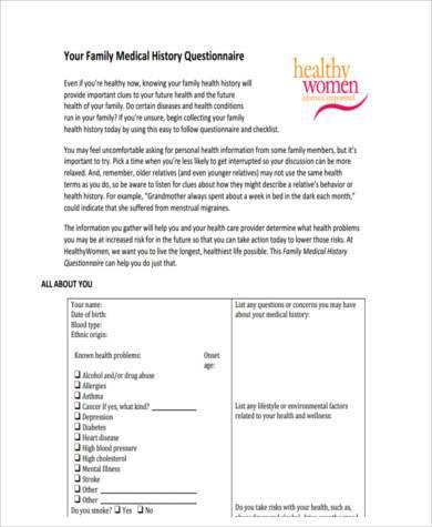 generic health history form - Ataum berglauf-verband com