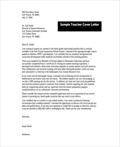 Cover Letter Examples for Teacher  8 Free Documents in