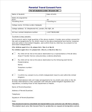 ... Sample Parent Consent Form   9+ Free Documents In Word, PDF   Travel  Consent ...  Parental Travel Consent