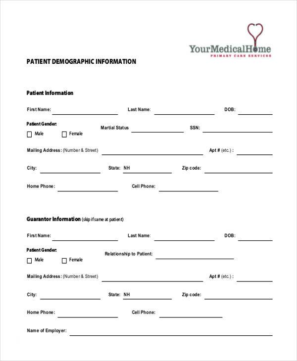 patient demographic form samples One Checklist That You