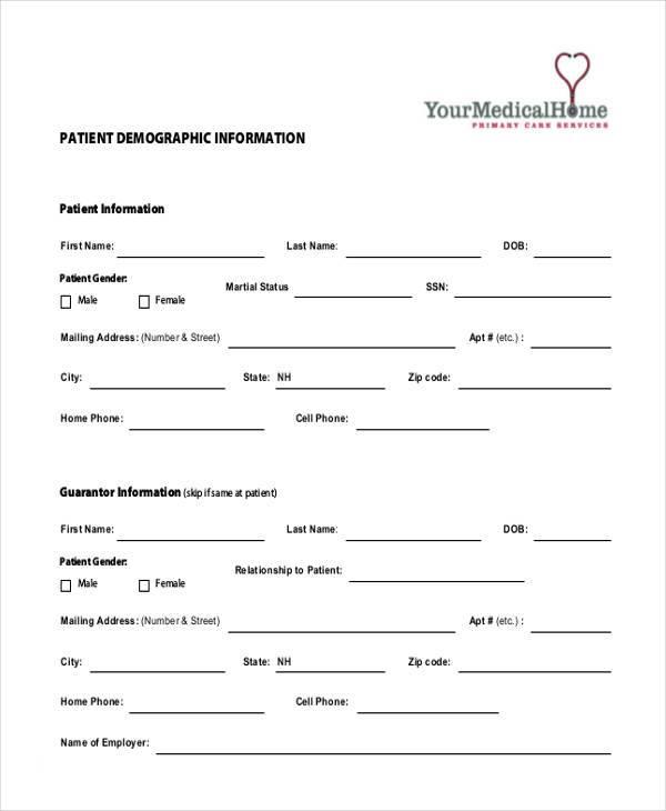 patient demographic template