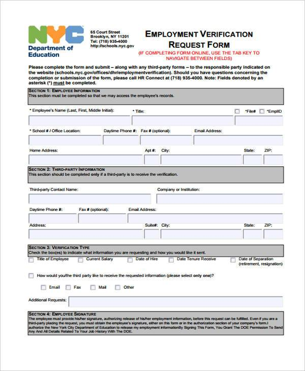 Employment Verification Request Form Template Targer Golden  Employment Verification Request Form Template