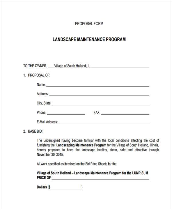 free 36 sample blank proposal