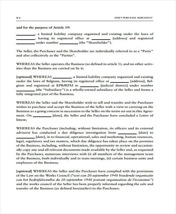Asset Purchase Agreement Letter Of Intent Visorgede