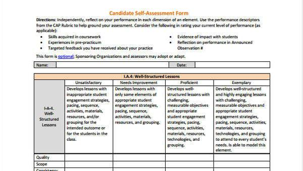 Self Assessment Form Final Sections Your Supervisor Examples
