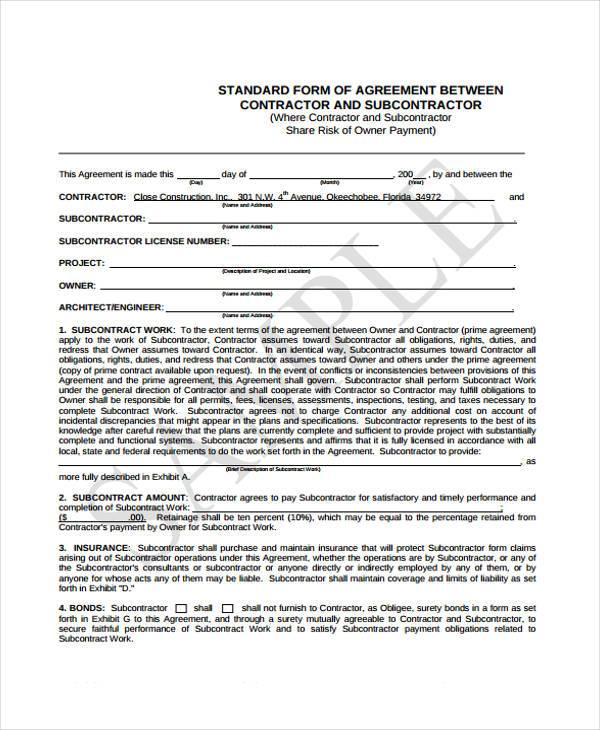 subcontractor bid form template - subcontractor contract samples