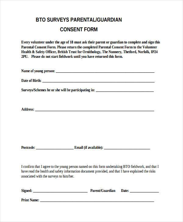 Survey Consent Form Sample Survey Consent Form Free Documents
