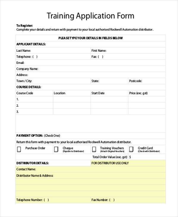 Free 7 Sample Training Application Forms In Pdf Word