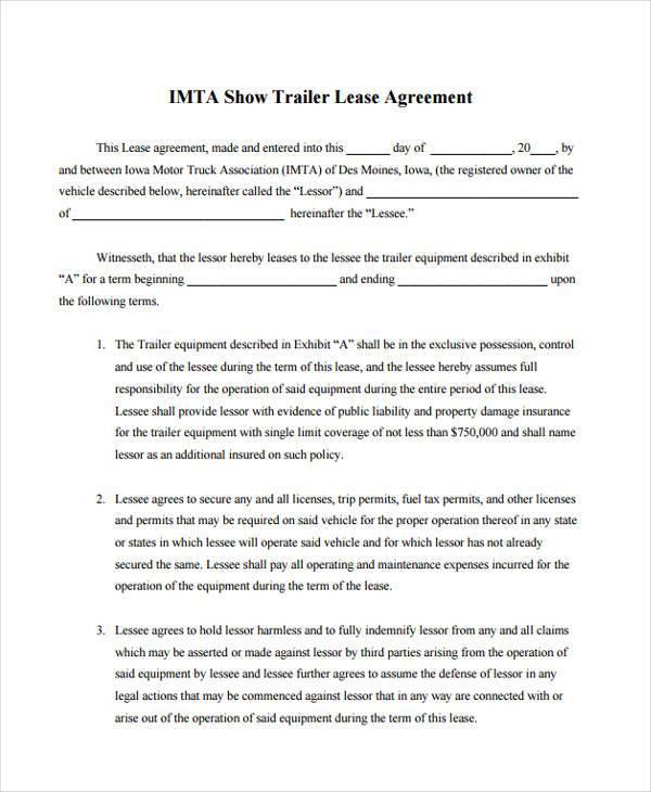 commercial truck lease agreement - Basilosaur.us