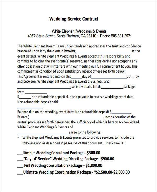 wedding planner contract