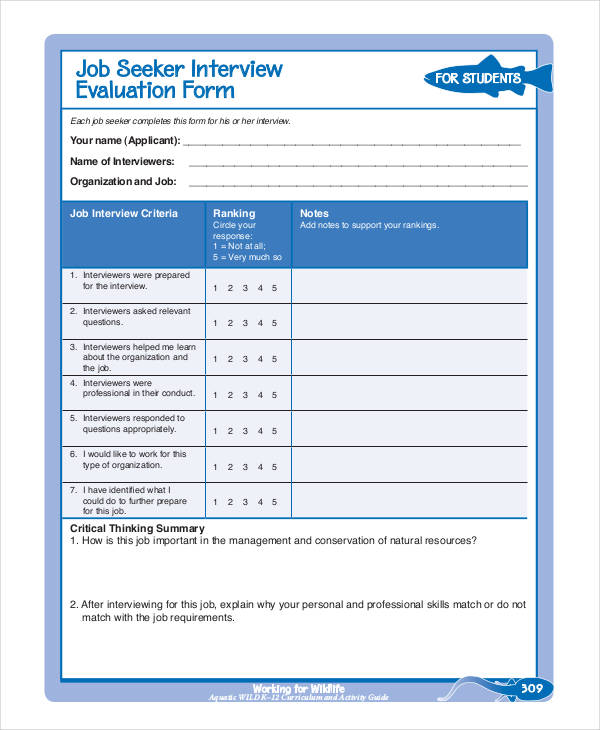 Candidate evaluation forms are to be completed by the interviewer to rank the candidates overall qualifications for the position to which they have applied. Job Candidate Interview Form Shefalitayal