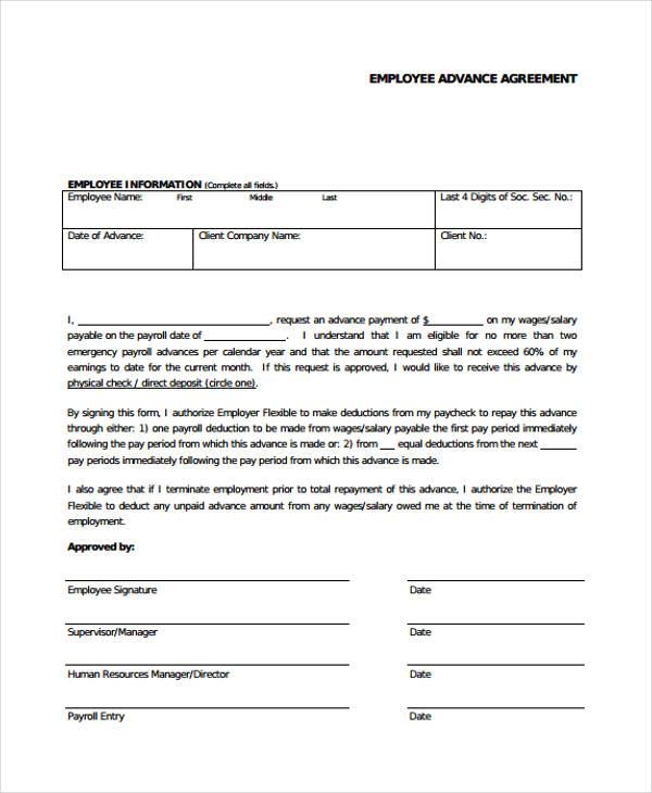 Cash Loan Agreement Form