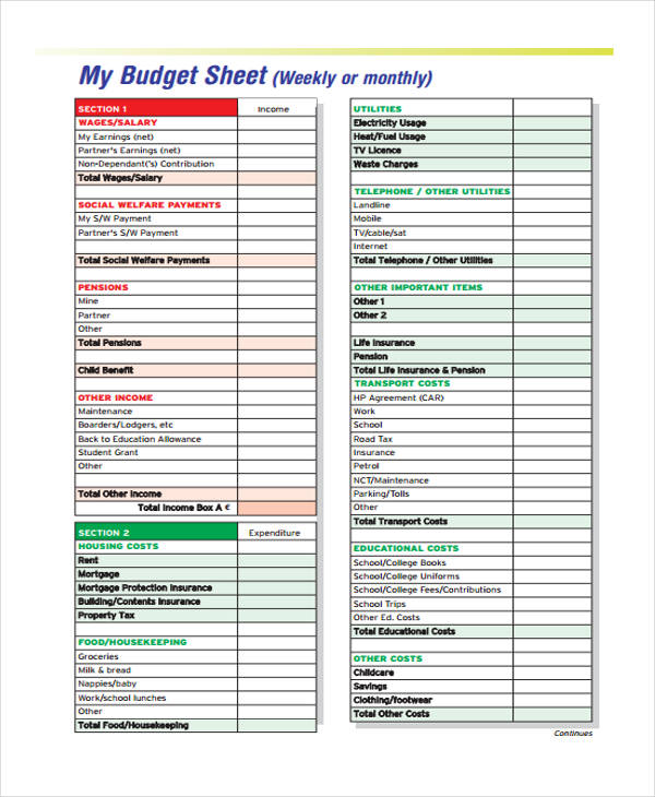 Free 10 Weekly Budget Forms In