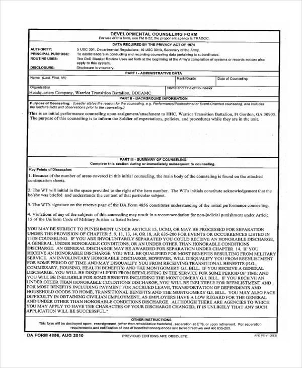 usmc counseling sheet template - monthly performance counseling examples