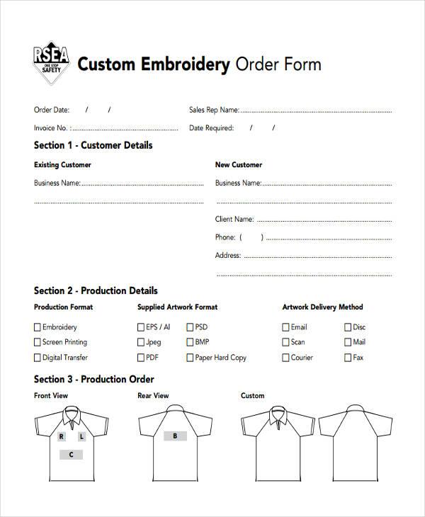 custom t shirt order form