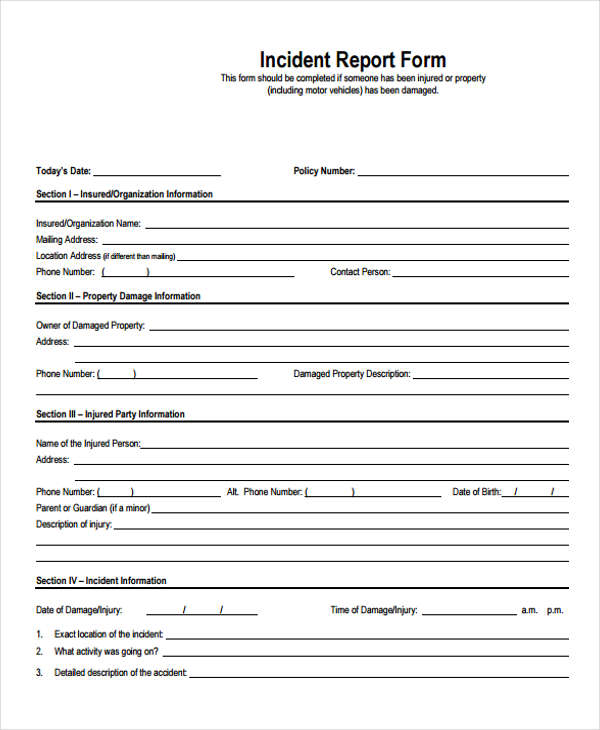 accident incident report forms