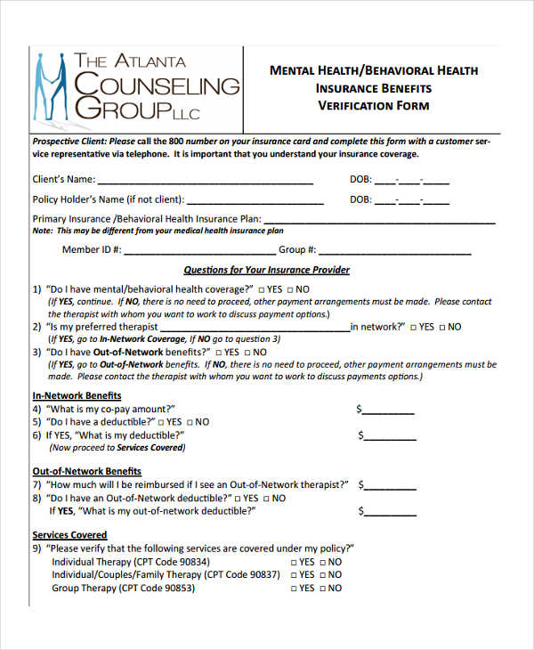 Free 23 Insurance Verification Forms In Pdf Ms Word