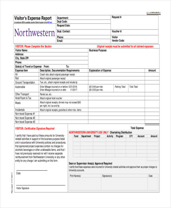 free expense report form template for excel cvfreeletterssample
