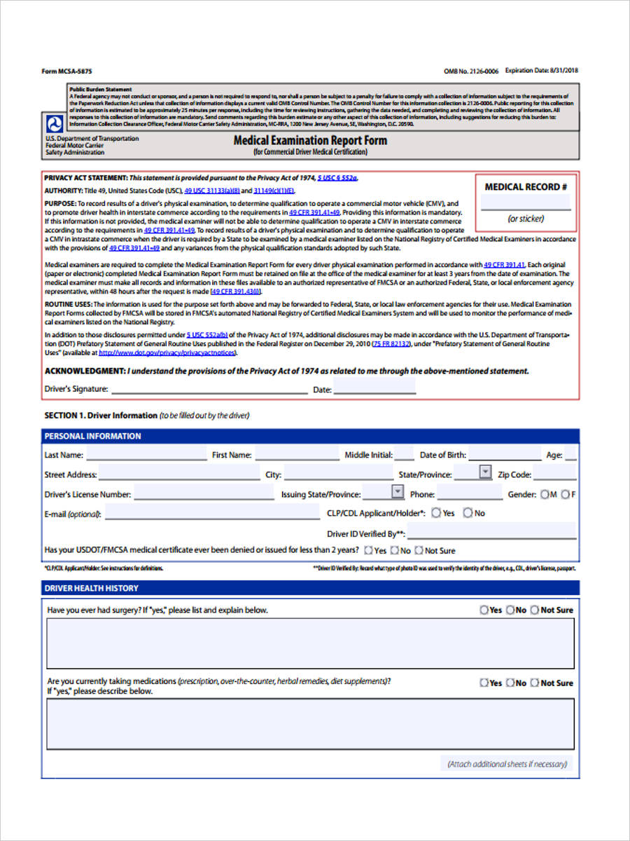 graphic about Mcsa-5875 Printable Form known as Reproduction Of Dot Professional medical Card