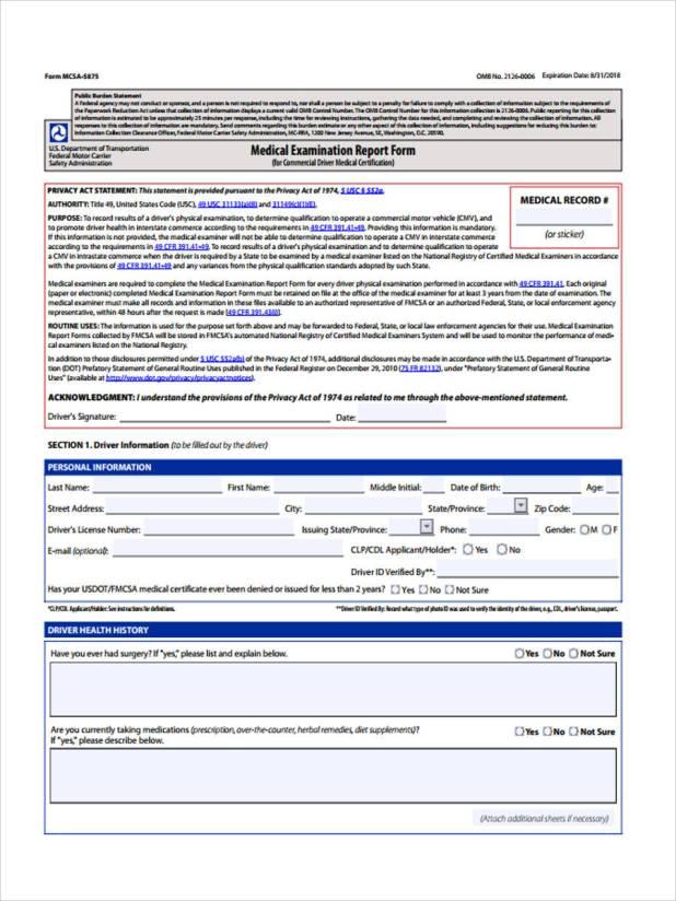 Dot Physical Medical Card Form | Creativecard.co
