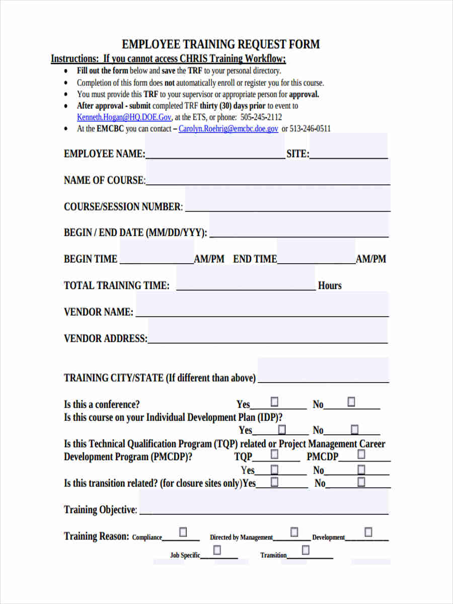 employee training forms