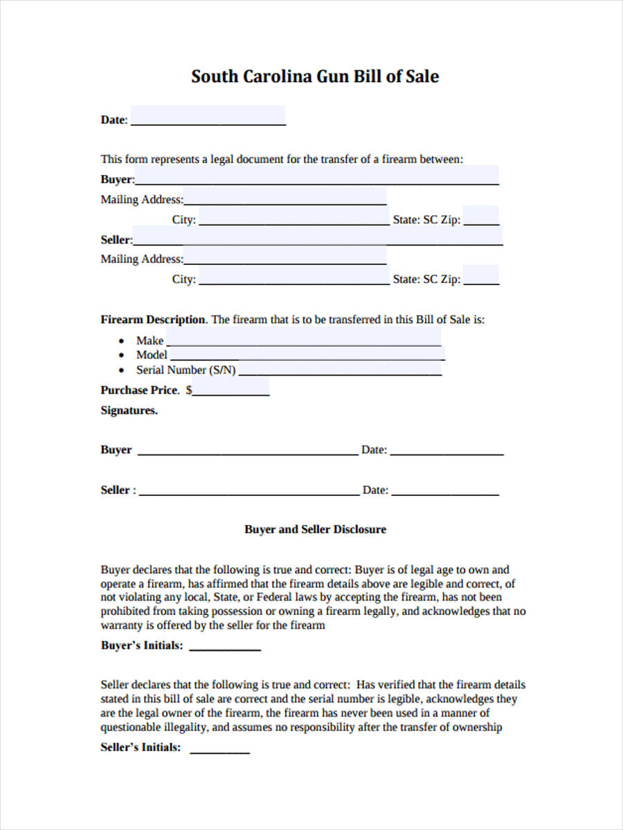 bill of sales forms