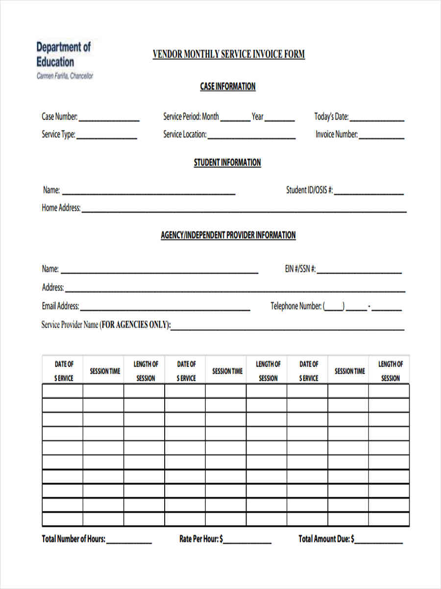 word invoice forms