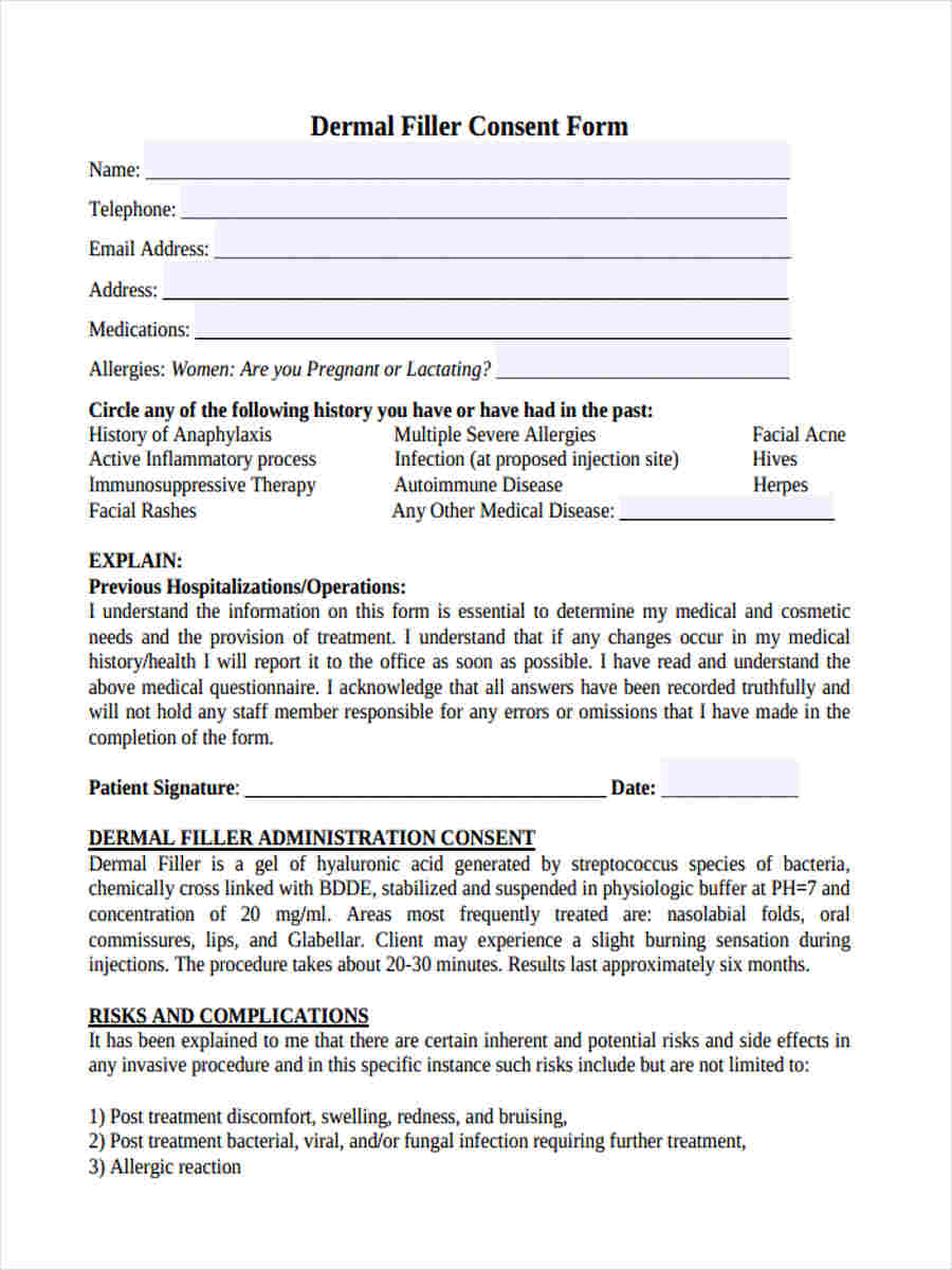 Surgery Informed Consent Form Template - Resume Examples