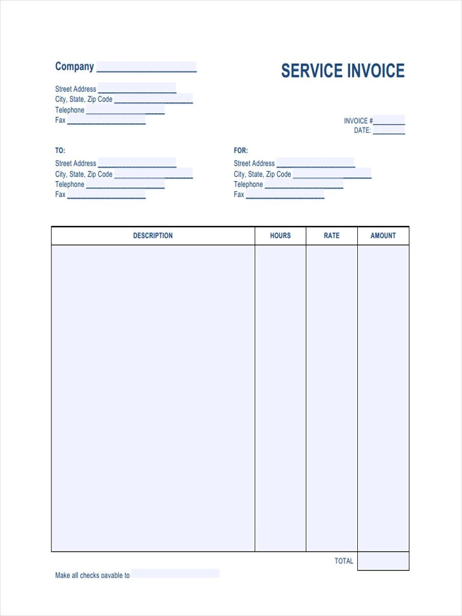 7 Printable Invoice Form Samples Free Sample Example