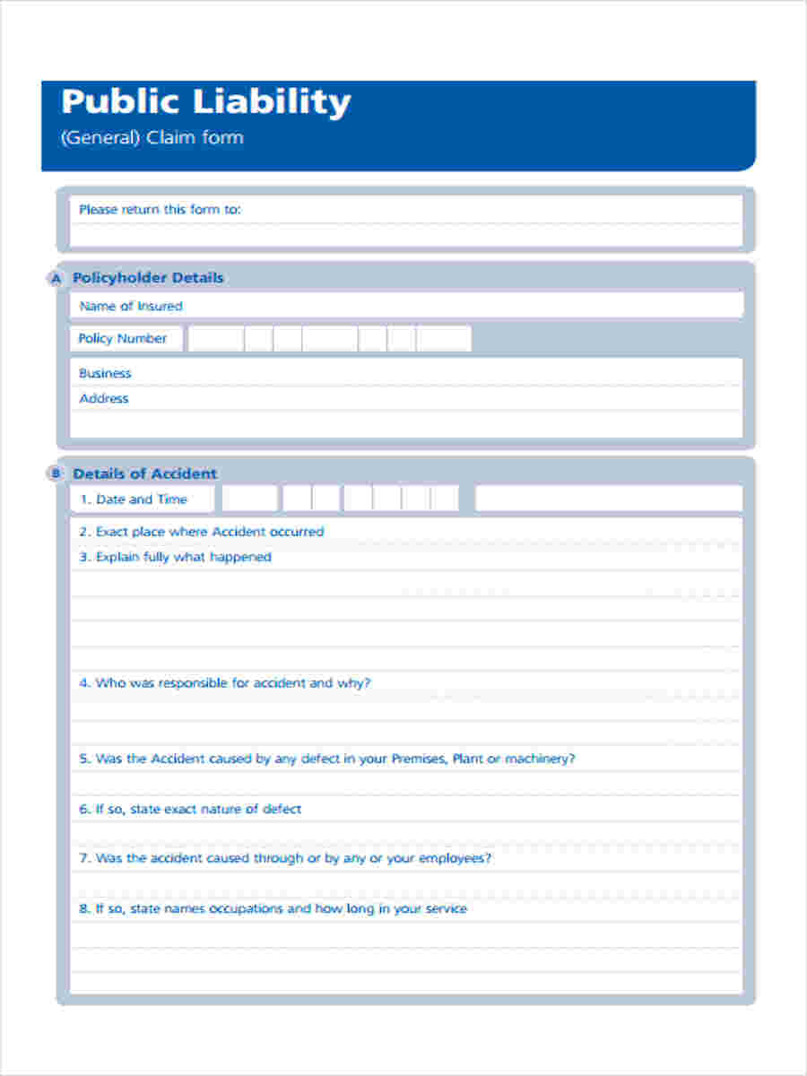 8 Public Liability Form Sample Free Sample Example