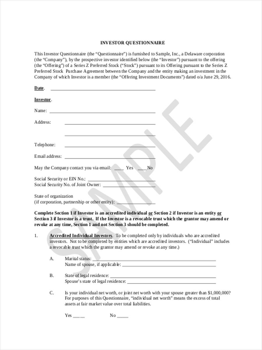 6 Investor Questionnaire Form Sample  Free Sample Example Format Download
