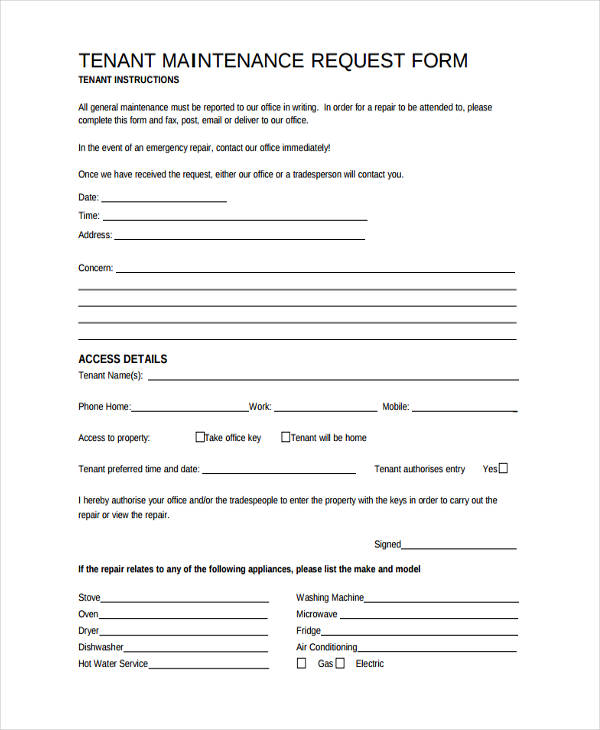 tenant repair request form template - April.onthemarch.co