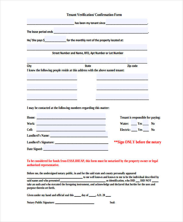 Rental Verification Form Samples - 9+ Free Documents In Word