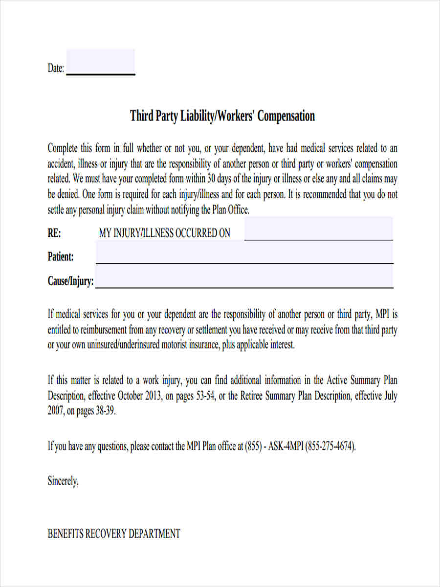 5 Third Party Liability Form Sample Free Sample